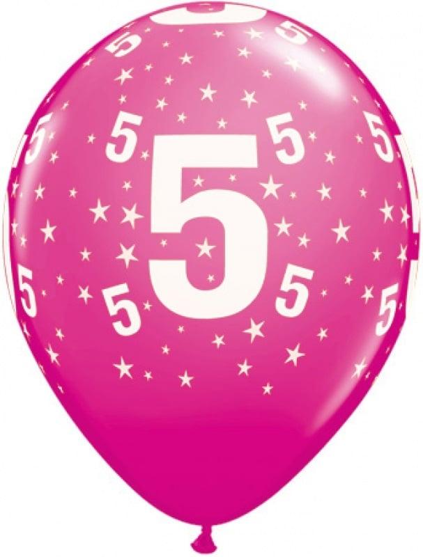 """Luftballon 28 cm (11"""") mit der Zahl 5 zum 5. Geburtstag"""