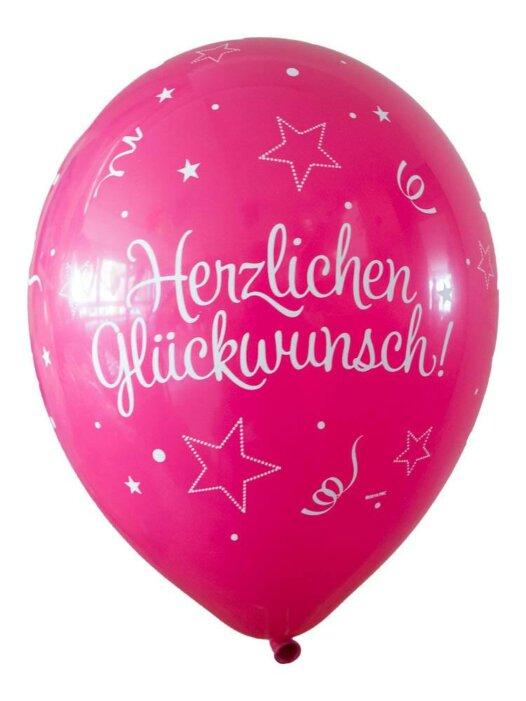 Luftballon Herzlichen Glückwunsch magenta