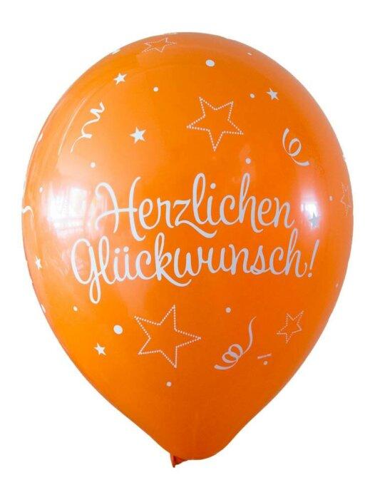 Luftballon Herzlichen Glückwunsch orange