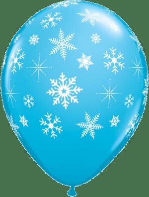 Luftballon Schneeflocken hellblau