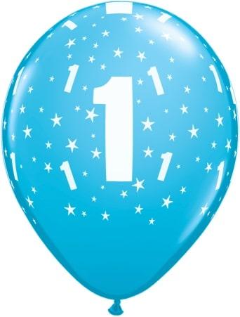 Luftballon Zahl 1 hellblau