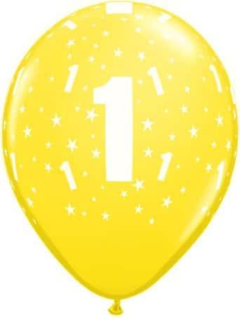 Luftballon Zahl 1 gelb