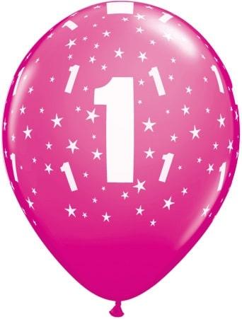 Luftballon Zahl 1 magenta