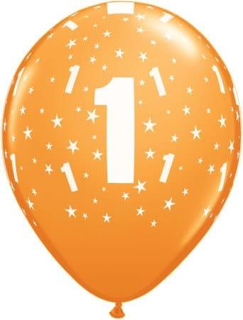 Luftballon Zahl 1 orange