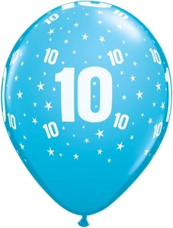 Luftballon Zahl 10 hellblau