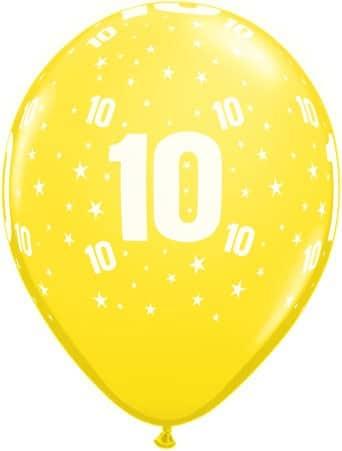 Luftballon Zahl 10 gelb