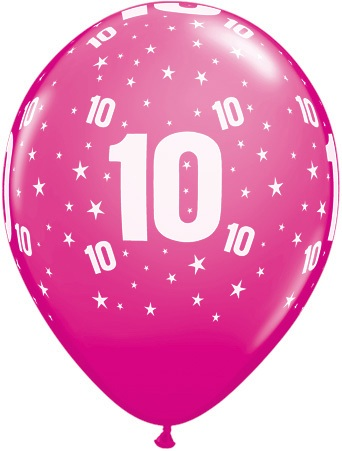 Luftballon Zahl 10 magenta