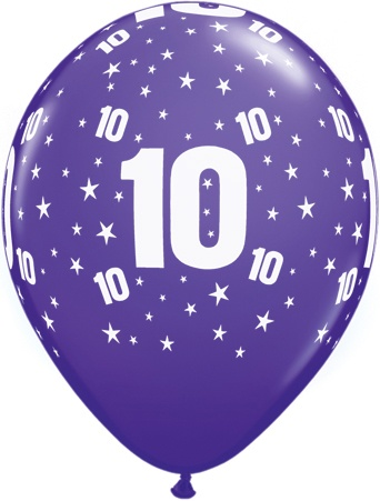 Luftballon Zahl 10 violett