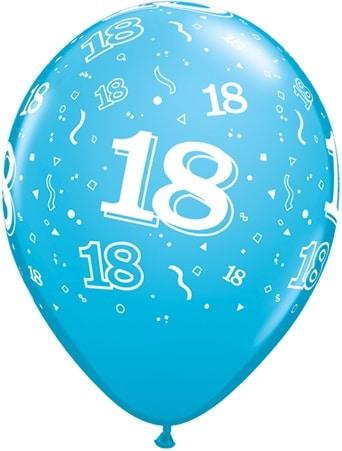 Luftballon Zahl 18 hellblau