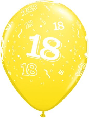 Luftballon Zahl 18 gelb