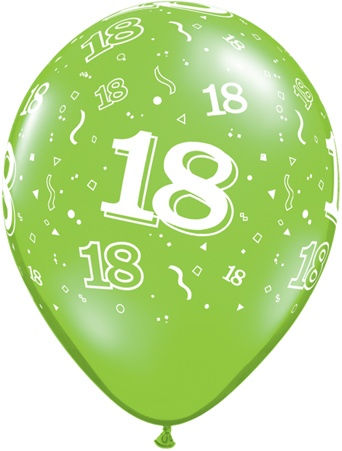 Luftballon Zahl 18 hellgrün