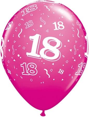 Luftballon Zahl 18 magenta
