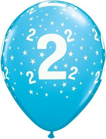 Luftballon Zahl 2 hellblau