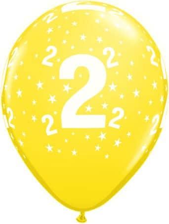 Luftballon Zahl 2 gelb
