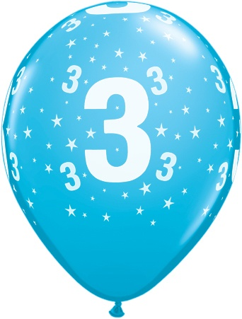 Luftballon Zahl 3 hellblau