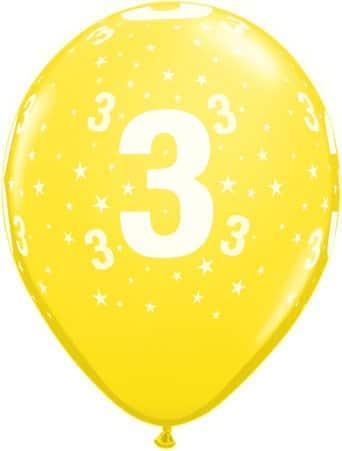 Luftballon Zahl 3 gelb
