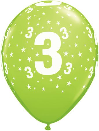 Luftballon Zahl 3 hellgrün