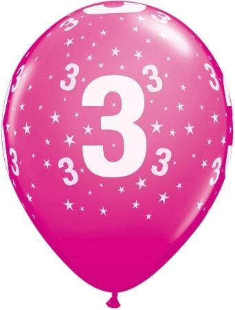 Luftballon Zahl 3 magenta