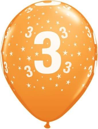 Luftballon Zahl 3 orange