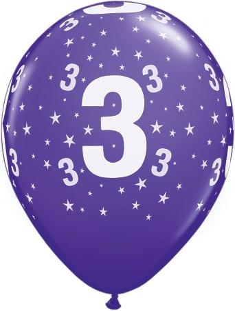 Luftballon Zahl 3 violett