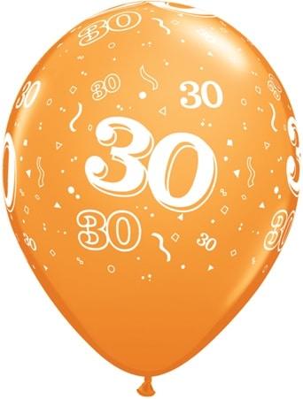 Luftballon Zahl 30 orange