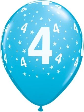 Luftballon Zahl 4 hellblau
