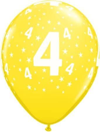 Luftballon Zahl 4 gelb