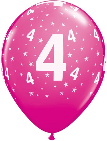 Luftballon Zahl 4 magenta