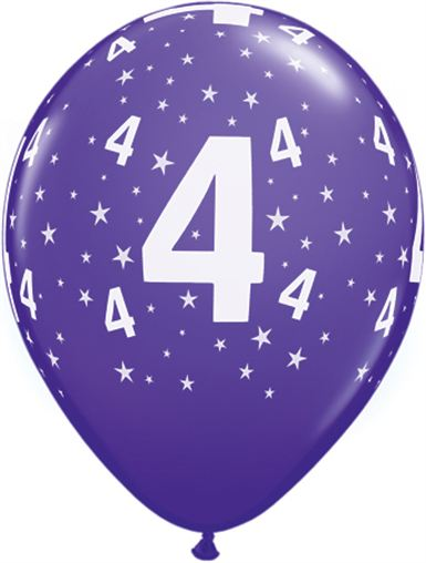 Helium luftballon zahl 4 zum 4 geburtstag 28 cm - Luftballon deko ...