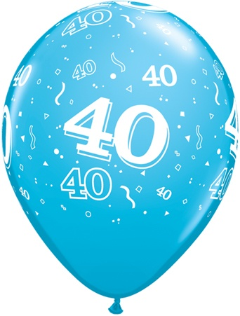 Luftballon Zahl 40 hellblau