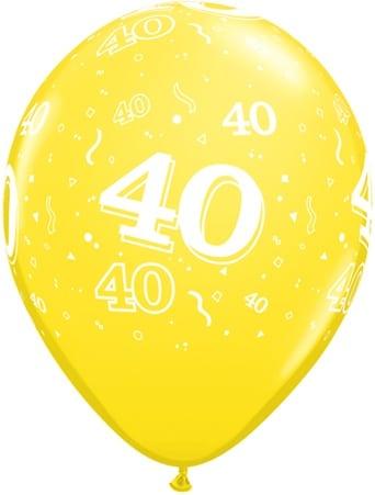 Luftballon Zahl 40 gelb