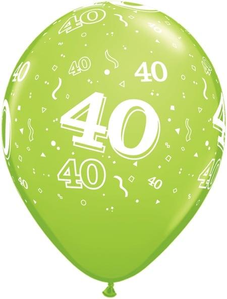 Luftballon Zahl 40 hellgrün