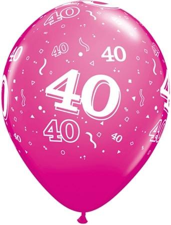 Helium Luftballon Zahl 40 zum 40. Geburtstag, 28 cm
