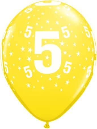 Luftballon Zahl 5 gelb
