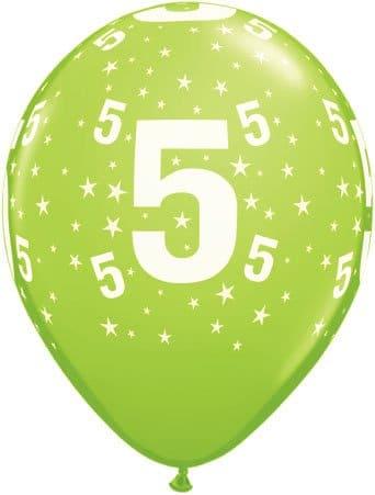 Luftballon Zahl 5 hellgrün