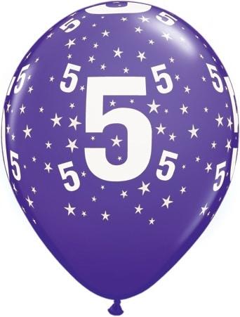 Luftballon Zahl 5 violett
