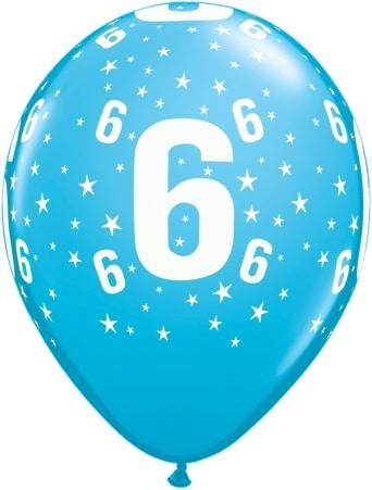 Luftballon Zahl 6 hellblau