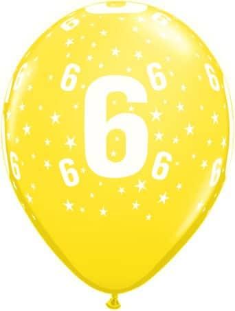 Luftballon Zahl 6 gelb