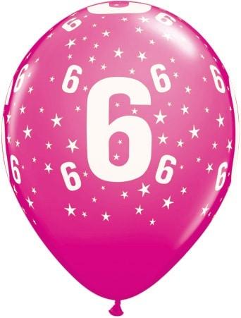 Luftballon Zahl 6 magenta