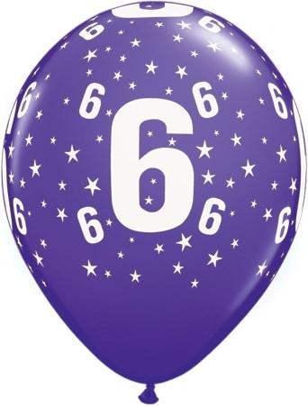 Luftballon Zahl 6 violett
