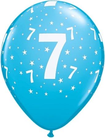 Luftballon Zahl 7 hellblau