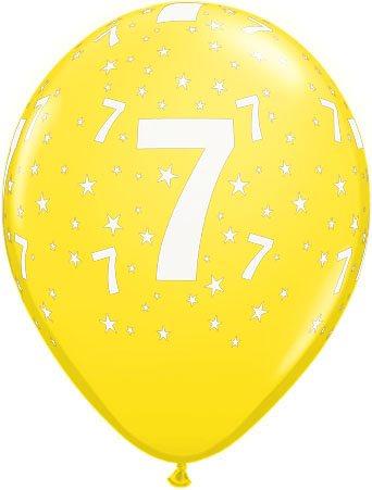 Luftballon Zahl 7 gelb