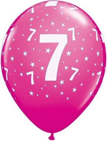 Luftballon Zahl 7 magenta