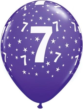 Luftballon Zahl 7 violett