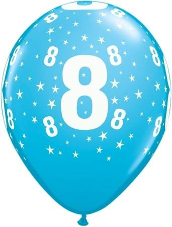 Luftballon Zahl 8 hellblau