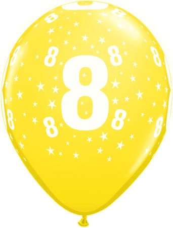 Luftballon Zahl 8 gelb
