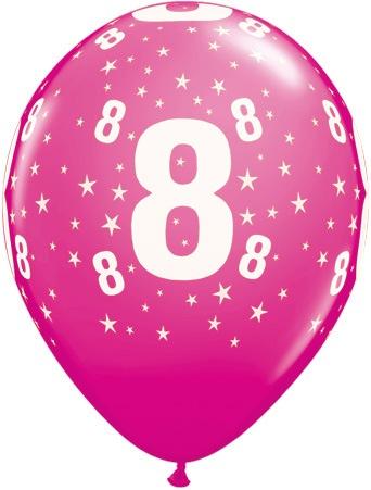 Luftballon Zahl 8 magenta