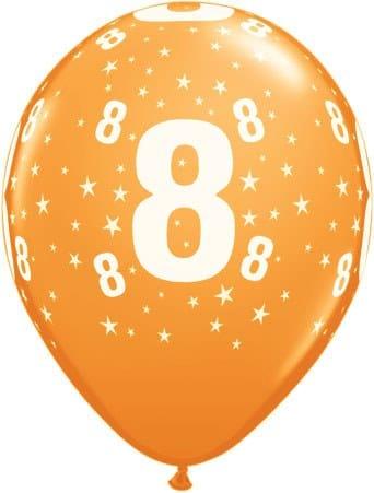 Luftballon Zahl 8 orange