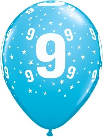 Luftballon Zahl 9 hellblau