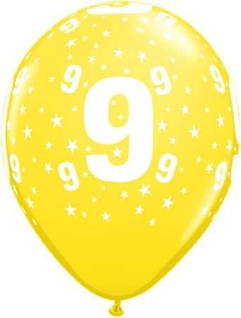 Luftballon Zahl 9 gelb